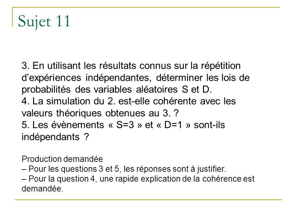 Sujet 11 3. En utilisant les résultats connus sur la répétition dexpériences indépendantes, déterminer les lois de probabilités des variables aléatoir
