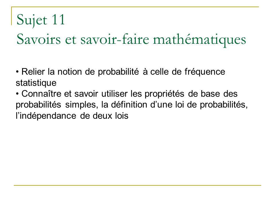 Relier la notion de probabilité à celle de fréquence statistique Connaître et savoir utiliser les propriétés de base des probabilités simples, la défi