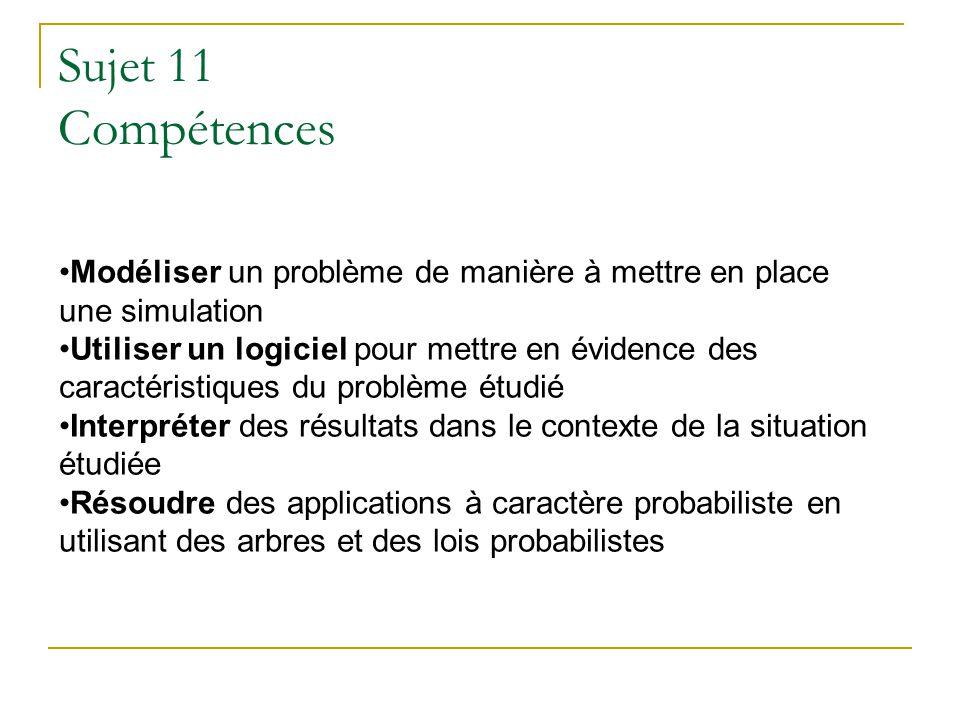 Sujet 11 Compétences Modéliser un problème de manière à mettre en place une simulation Utiliser un logiciel pour mettre en évidence des caractéristiqu