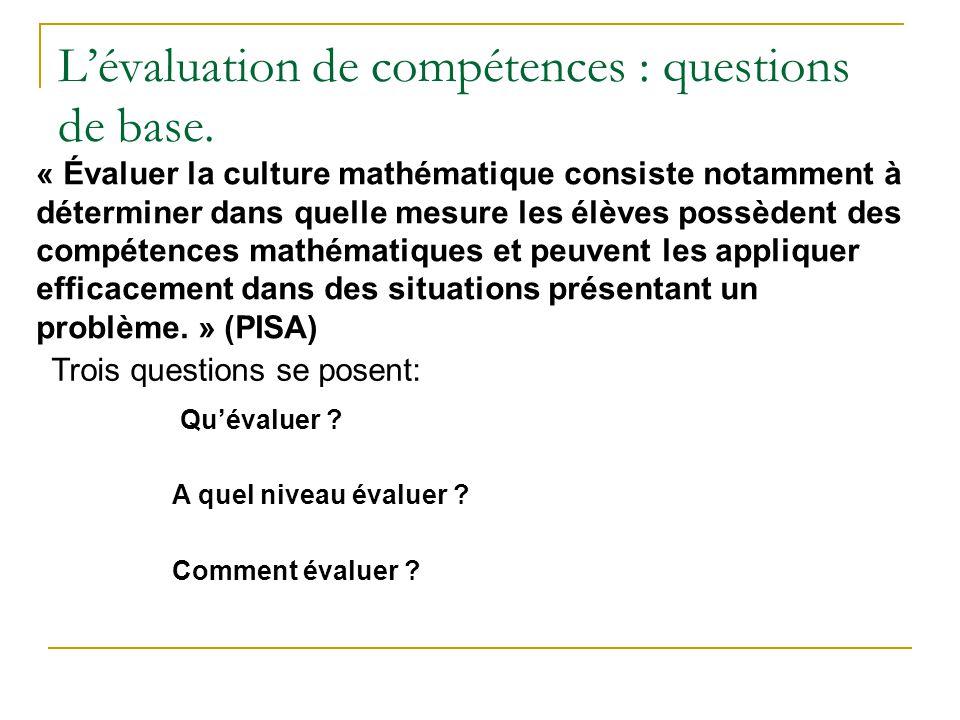Lévaluation de compétences : questions de base. Trois questions se posent: Quévaluer ? A quel niveau évaluer ? Comment évaluer ? « Évaluer la culture