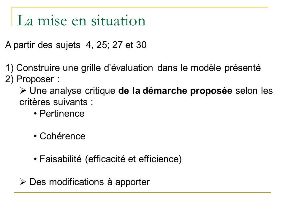 La mise en situation A partir des sujets 4, 25; 27 et 30 1) Construire une grille dévaluation dans le modèle présenté 2) Proposer : Une analyse critiq
