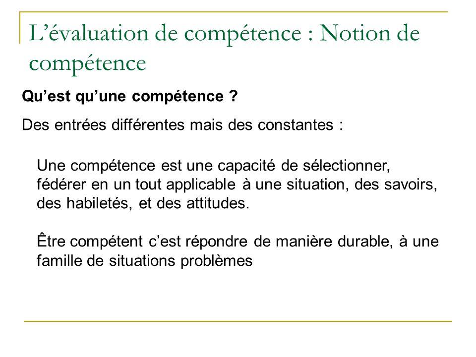 Lévaluation de compétence : Notion de compétence Une compétence est une capacité de sélectionner, fédérer en un tout applicable à une situation, des s