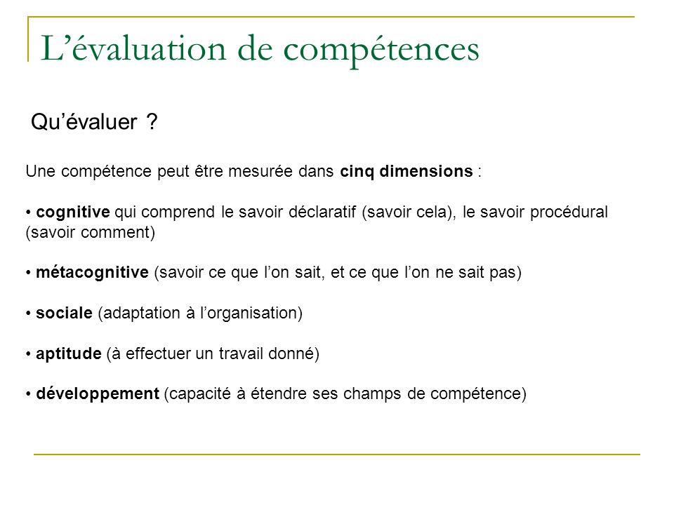 Une compétence peut être mesurée dans cinq dimensions : cognitive qui comprend le savoir déclaratif (savoir cela), le savoir procédural (savoir commen
