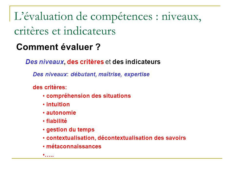 Lévaluation de compétences : niveaux, critères et indicateurs Comment évaluer ? Des niveaux, des critères et des indicateurs Des niveaux: débutant, ma