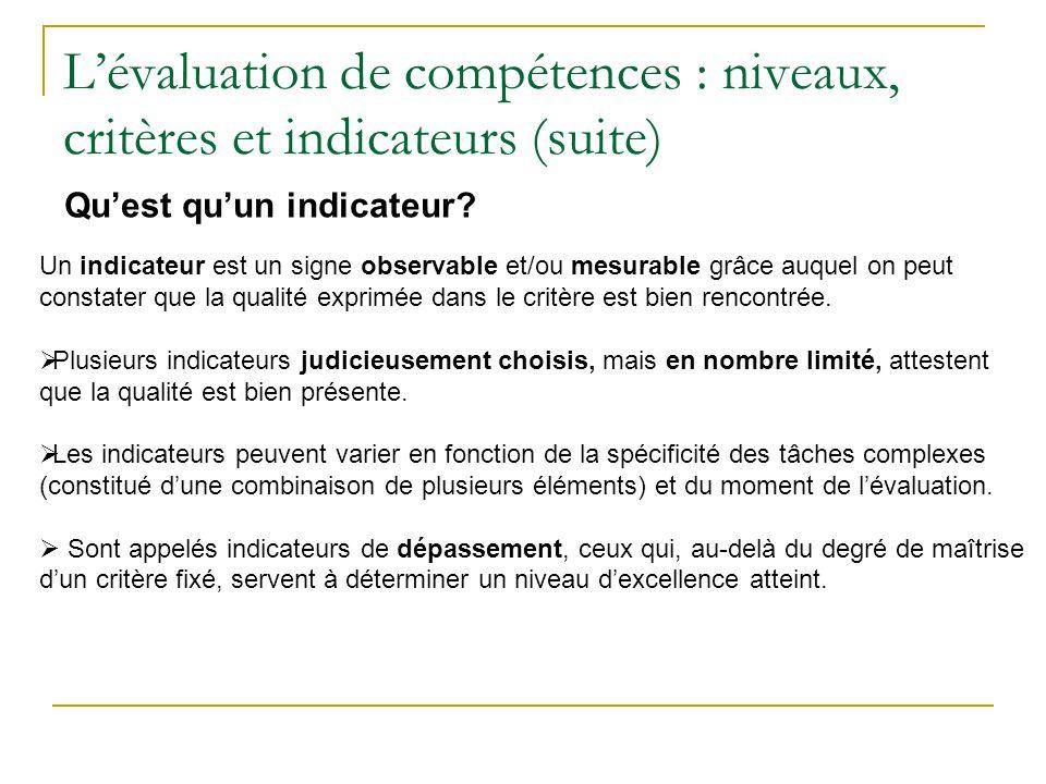Lévaluation de compétences : niveaux, critères et indicateurs (suite) Quest quun indicateur? Un indicateur est un signe observable et/ou mesurable grâ