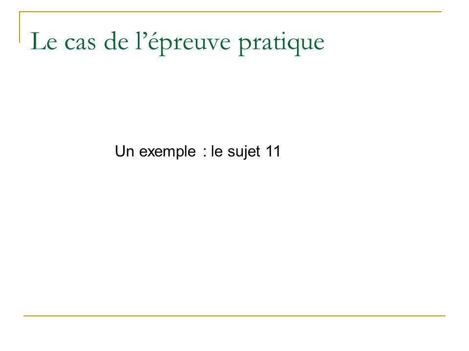 Le cas de lépreuve pratique Un exemple : le sujet 11