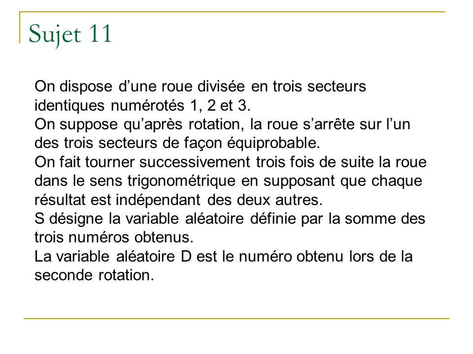 Sujet 11 On dispose dune roue divisée en trois secteurs identiques numérotés 1, 2 et 3. On suppose quaprès rotation, la roue sarrête sur lun des trois