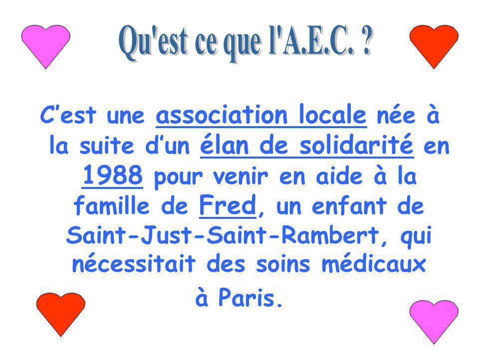 Cest une association locale née à la suite dun élan de solidarité en 1988 pour venir en aide à la famille de Fred, un enfant de Saint-Just-Saint-Rambert, qui nécessitait des soins médicaux à Paris.