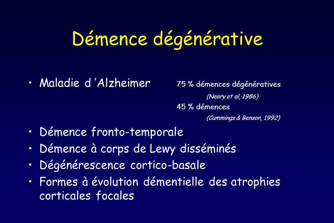Autres démences dégénératives Paralysie supra-nucléaire progressive Maladie de Hungtington Maladie de Hallervorden-Spatz Atrophies multi-systématisées Démence et maladie de Parkinson Démence méso-limbique