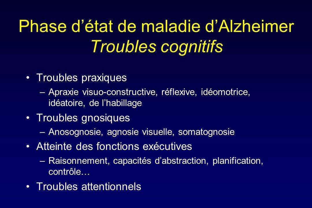 Phase détat de maladie dAlzheimer Troubles cognitifs Troubles praxiques –Apraxie visuo-constructive, réflexive, idéomotrice, idéatoire, de lhabillage