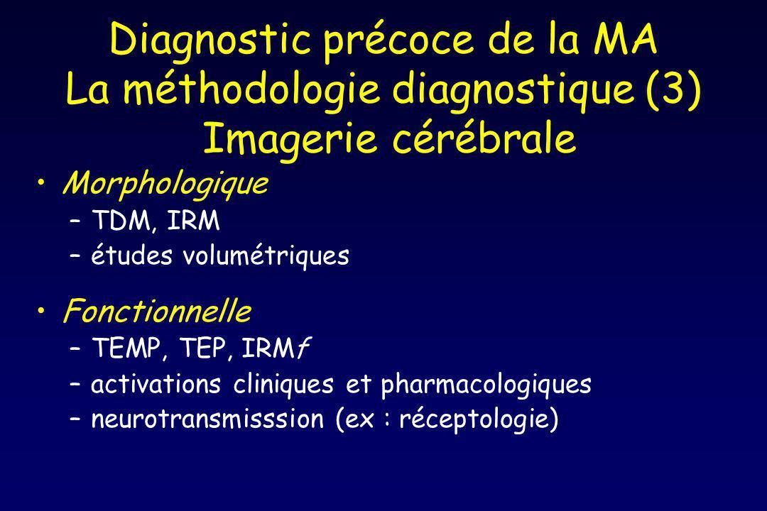Diagnostic précoce de la MA La méthodologie diagnostique (3) Imagerie cérébrale Morphologique –TDM, IRM –études volumétriques Fonctionnelle –TEMP, TEP