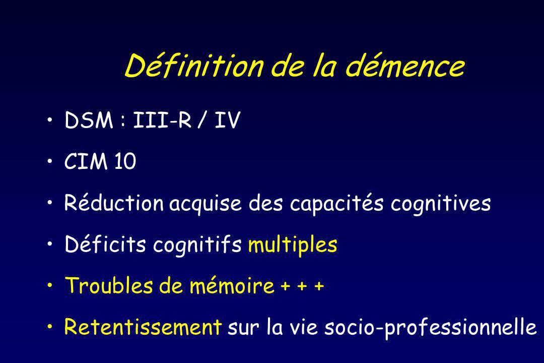 Définition de la démence DSM : III-R / IV CIM 10 Réduction acquise des capacités cognitives Déficits cognitifs multiples Troubles de mémoire + + + Retentissement sur la vie socio-professionnelle