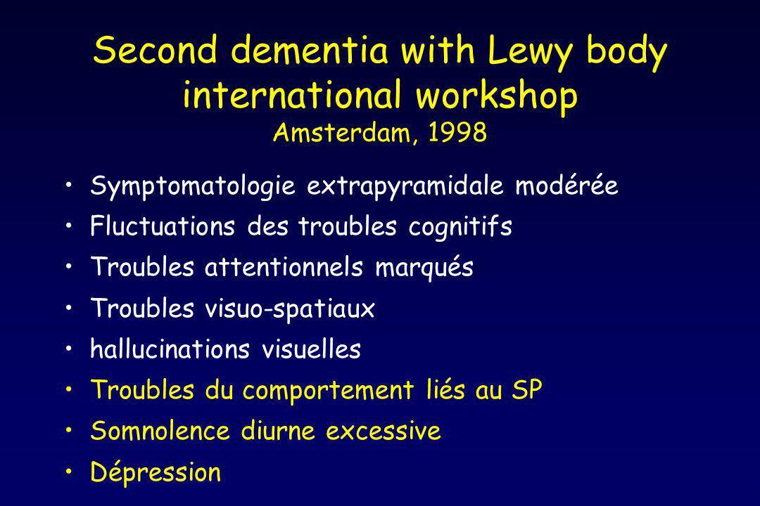 Second dementia with Lewy body international workshop Amsterdam, 1998 Symptomatologie extrapyramidale modérée Fluctuations des troubles cognitifs Trou