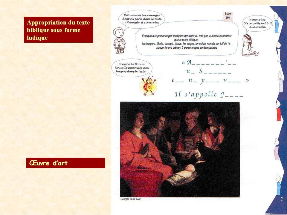 Appropriation du texte biblique sous forme ludique Œuvre dart