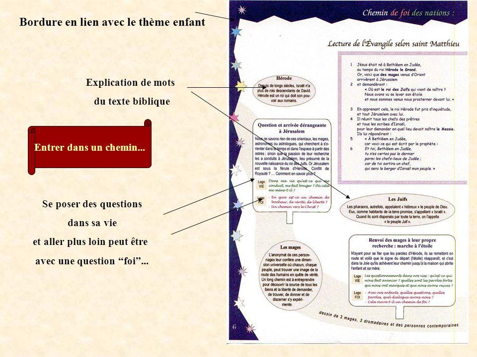 Bordure en lien avec le thème enfant Explication de mots du texte biblique Entrer dans un chemin...