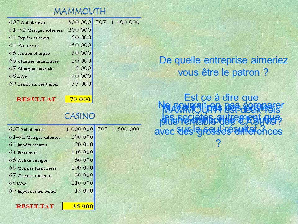 CASINO MAMMOUTH 130 000 - 20 000 + 110 000 180 000 - 100 000 + 80 000 Résultat courant avt impôts = Résultat d exploitation - 66