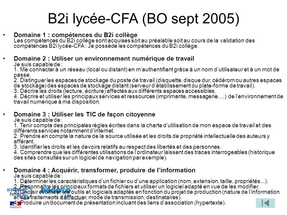 B2i lycée-CFA (BO sept 2005) Domaine 1 : compétences du B2i collège Les compétences du B2i collège sont acquises soit au préalable soit au cours de la validation des compétences B2i lycée-CFA : Je possède les compétences du B2i collège.