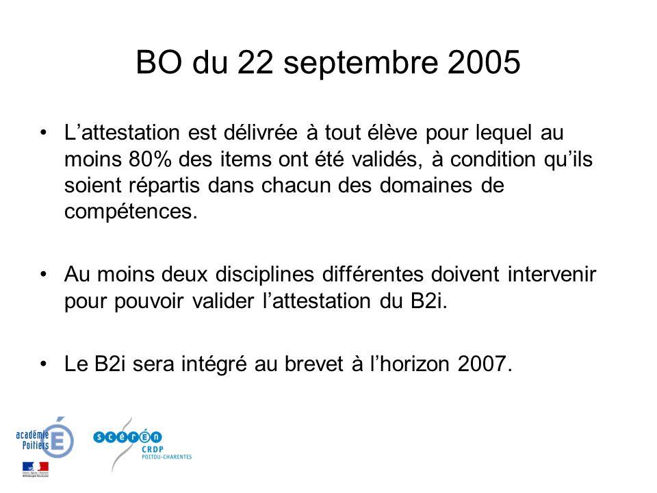 BO du 22 septembre 2005 Lattestation est délivrée à tout élève pour lequel au moins 80% des items ont été validés, à condition quils soient répartis dans chacun des domaines de compétences.