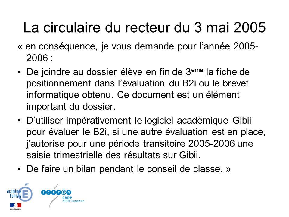 La circulaire du recteur du 3 mai 2005 « en conséquence, je vous demande pour lannée 2005- 2006 : De joindre au dossier élève en fin de 3 ème la fiche de positionnement dans lévaluation du B2i ou le brevet informatique obtenu.