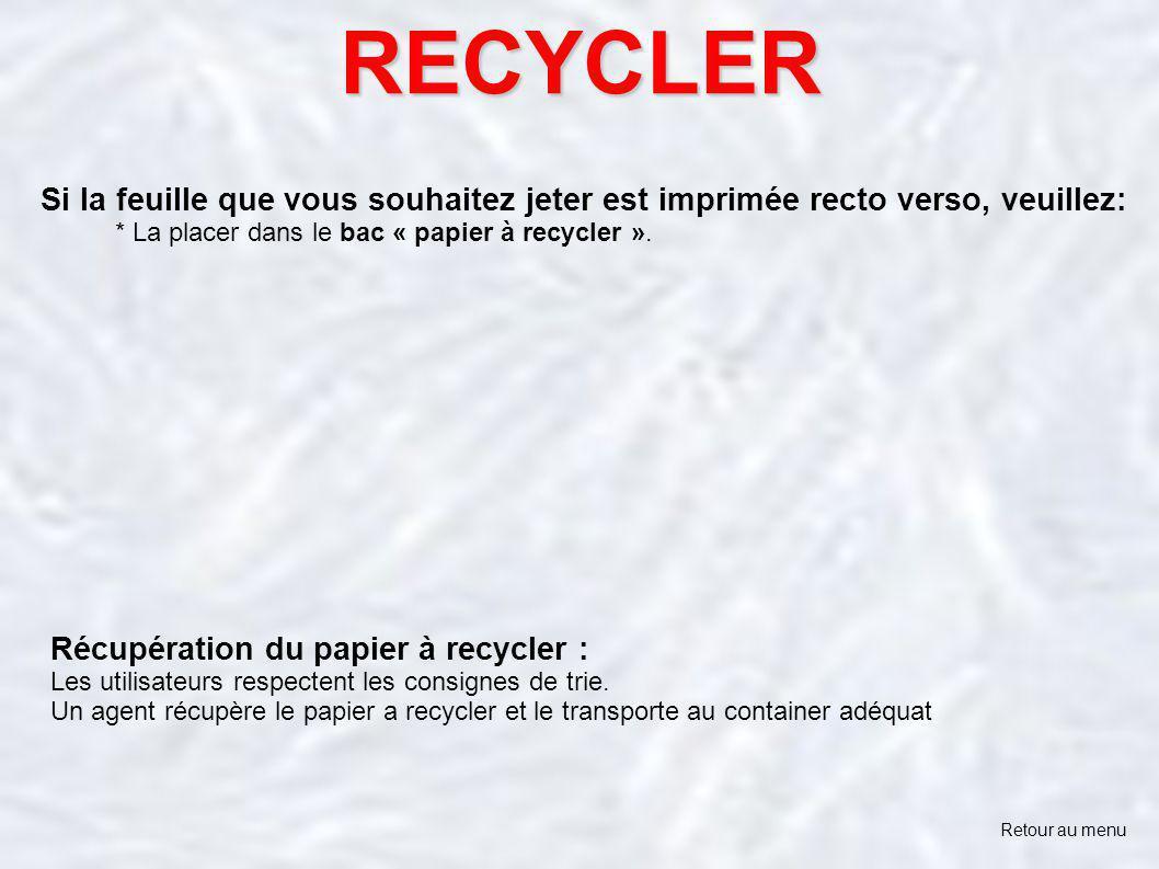 RECYCLER Retour au menu Si la feuille que vous souhaitez jeter est imprimée recto verso, veuillez: * La placer dans le bac « papier à recycler ». Récu