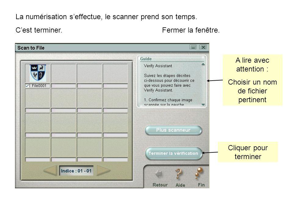 La numérisation seffectue, le scanner prend son temps.