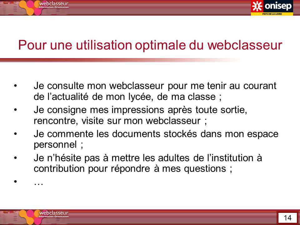 Pour une utilisation optimale du webclasseur Je consulte mon webclasseur pour me tenir au courant de lactualité de mon lycée, de ma classe ; Je consig
