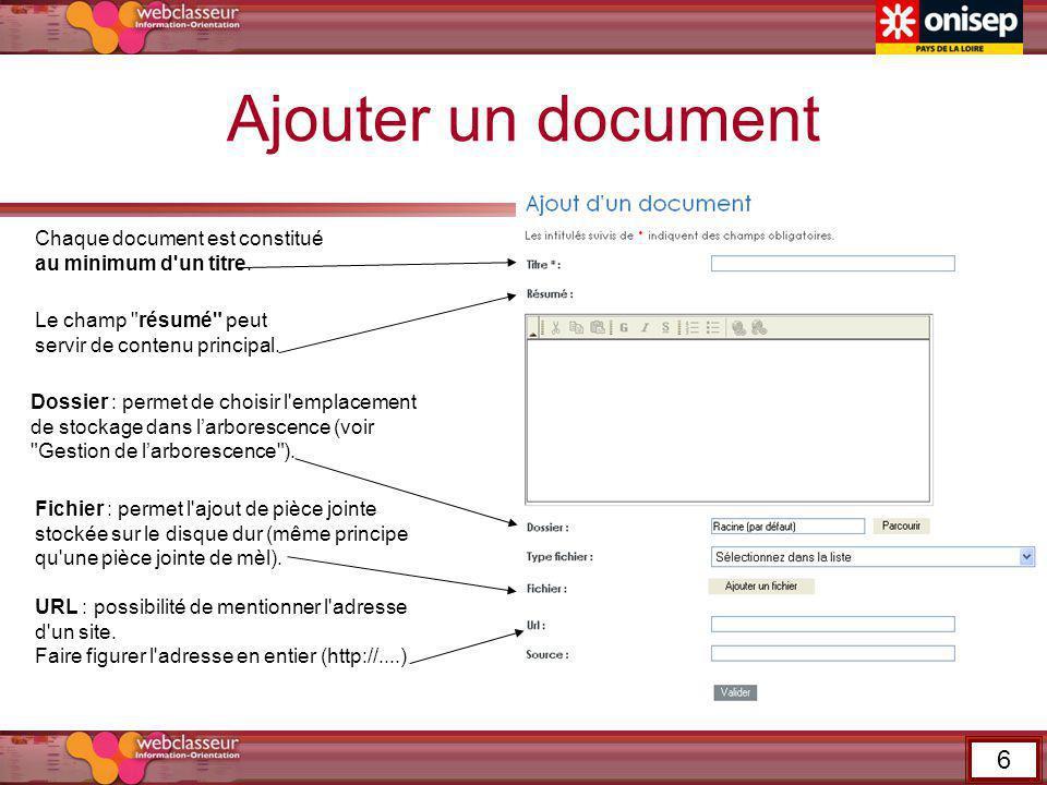 Ajouter un document Dossier : permet de choisir l'emplacement de stockage dans larborescence (voir