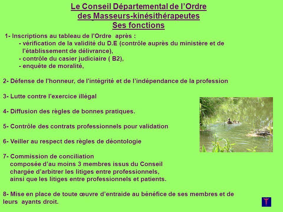 Le Conseil Départemental de lOrdre des Masseurs-kinésithérapeutes Ses fonctions 1- Inscriptions au tableau de l'Ordre après : - vérification de la val