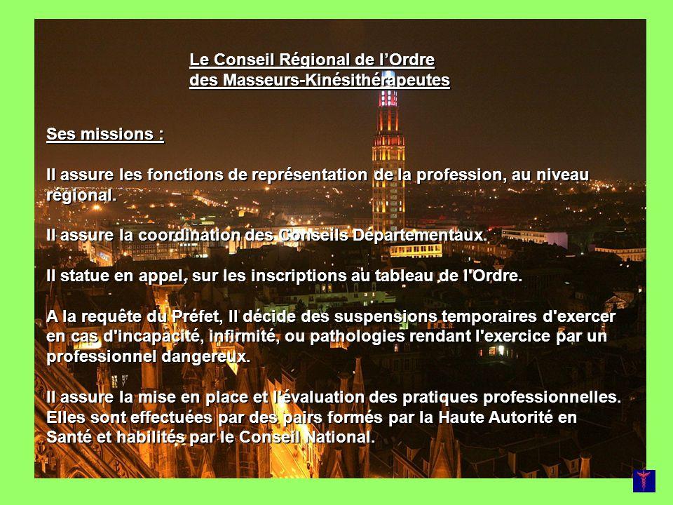 Le Conseil Régional de lOrdre des Masseurs-Kinésithérapeutes Ses missions : Il assure les fonctions de représentation de la profession, au niveau régi