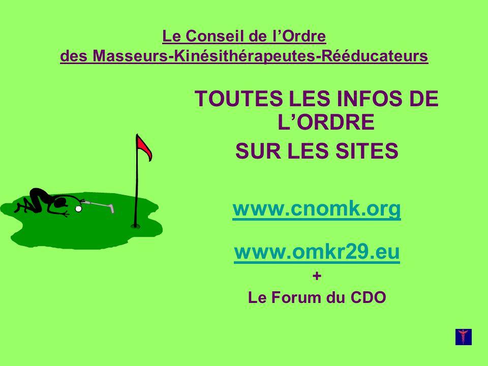 Le Conseil de lOrdre des Masseurs-Kinésithérapeutes-Rééducateurs TOUTES LES INFOS DE LORDRE SUR LES SITES www.cnomk.org www.omkr29.eu + Le Forum du CD