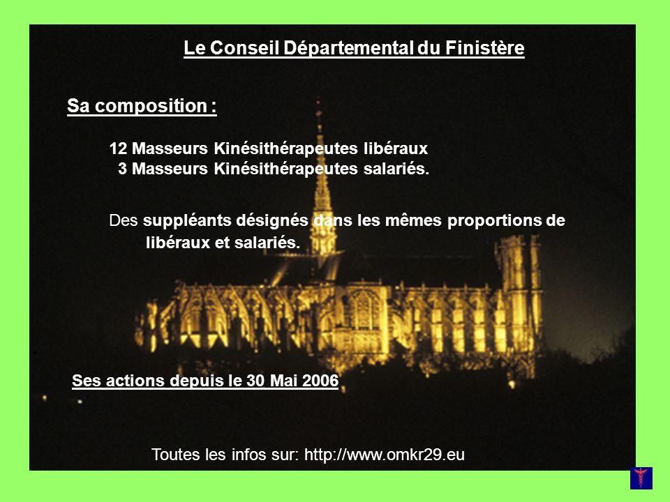 Le Conseil Départemental du Finistère Sa composition : 12 Masseurs Kinésithérapeutes libéraux 3 Masseurs Kinésithérapeutes salariés. Des suppléants dé