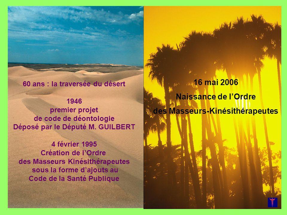 60 ans : la traversée du désert 1946 premier projet de code de déontologie Déposé par le Député M. GUILBERT 4 février 1995 Création de lOrdre des Mass