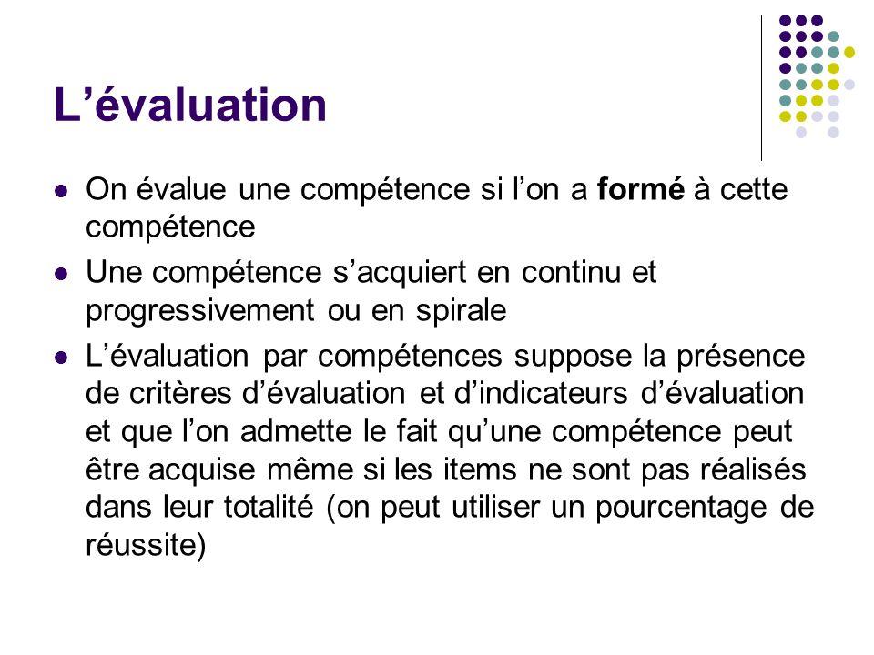 Lévaluation On évalue une compétence si lon a formé à cette compétence Une compétence sacquiert en continu et progressivement ou en spirale Lévaluatio