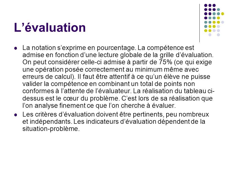 Lévaluation La notation sexprime en pourcentage. La compétence est admise en fonction dune lecture globale de la grille dévaluation. On peut considére