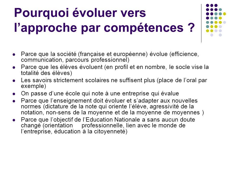 Pourquoi évoluer vers lapproche par compétences ? Parce que la société (française et européenne) évolue (efficience, communication, parcours professio
