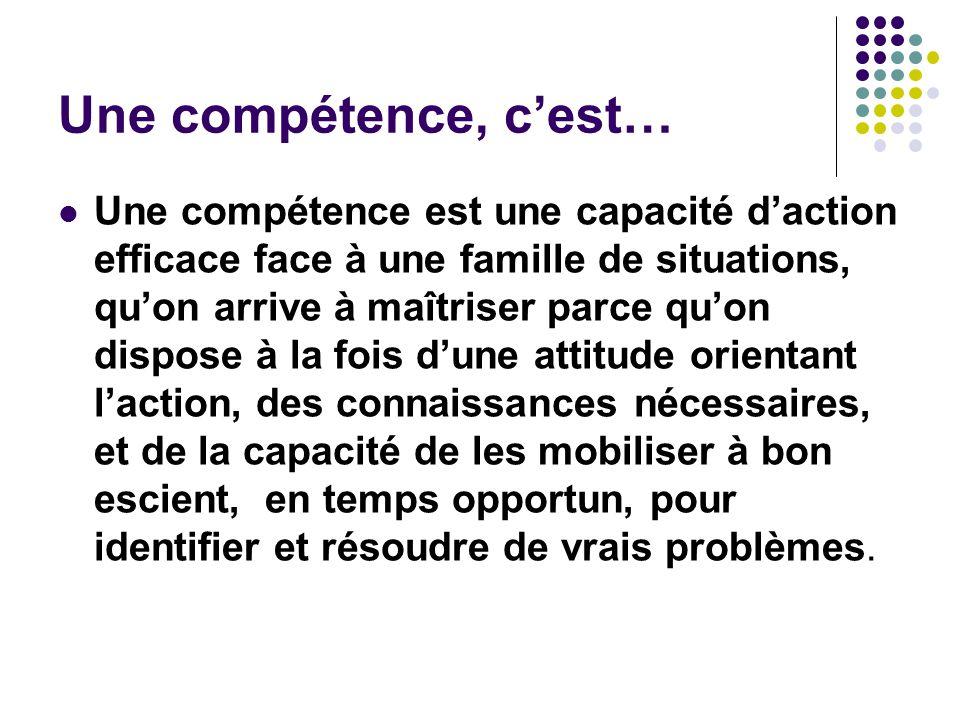 Une compétence, cest… Une compétence est une capacité daction efficace face à une famille de situations, quon arrive à maîtriser parce quon dispose à