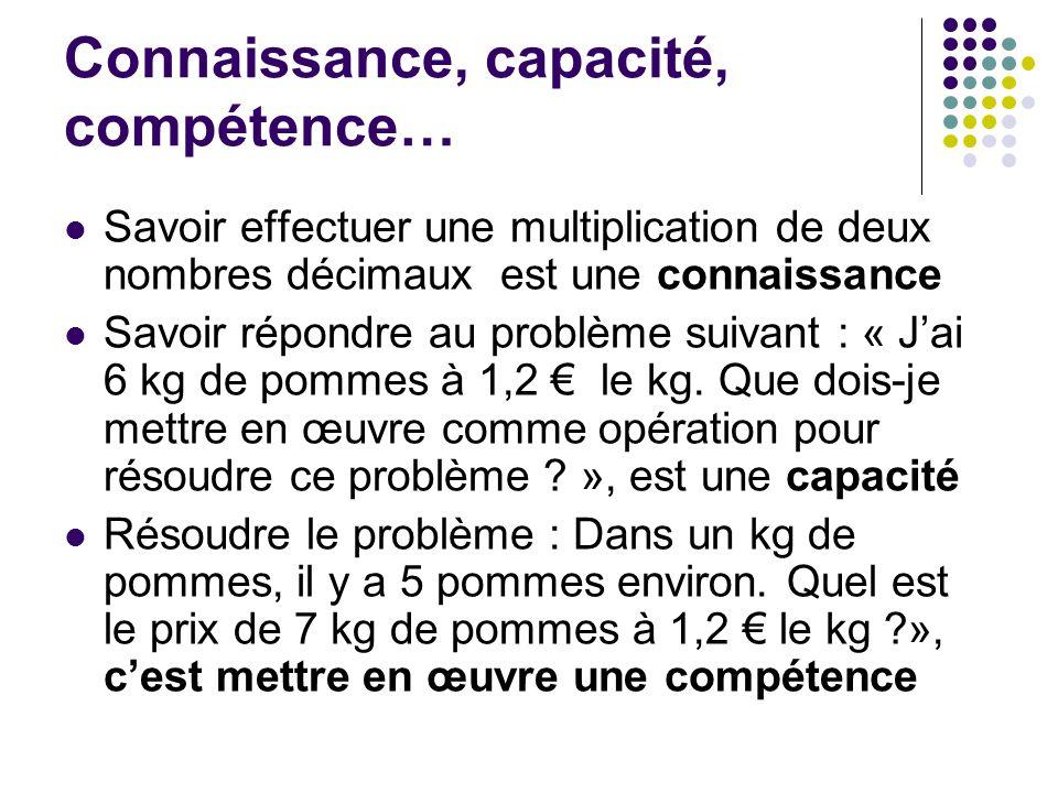 Connaissance, capacité, compétence… Savoir effectuer une multiplication de deux nombres décimaux est une connaissance Savoir répondre au problème suiv