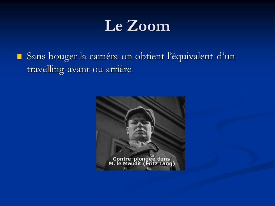 Le Zoom Sans bouger la caméra on obtient léquivalent dun travelling avant ou arrière Sans bouger la caméra on obtient léquivalent dun travelling avant ou arrière