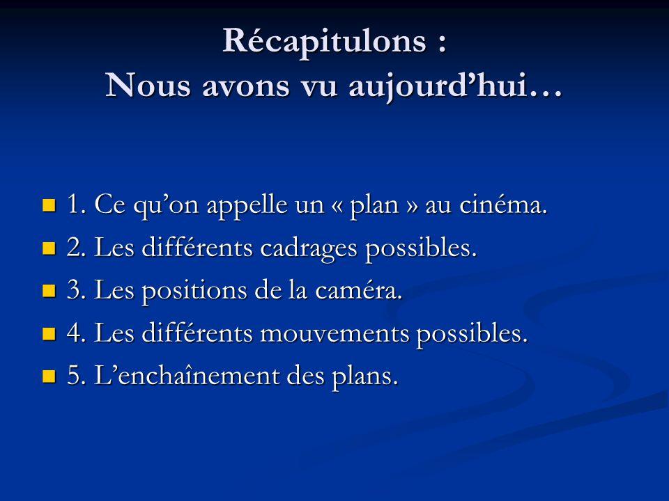 Récapitulons : Nous avons vu aujourdhui… 1.Ce quon appelle un « plan » au cinéma.