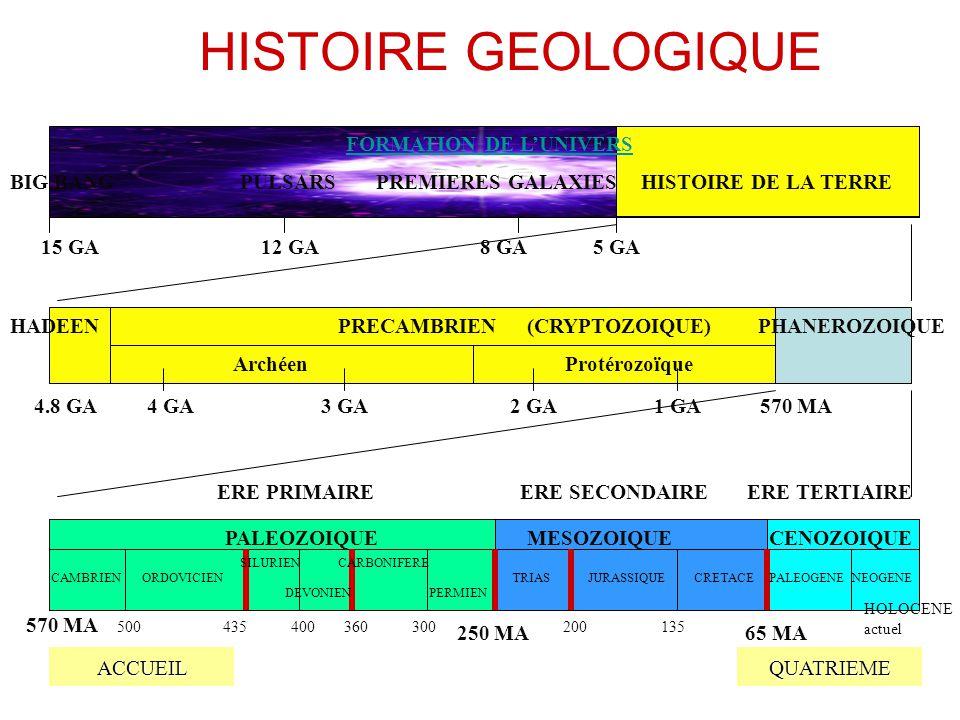 HISTOIRE GEOLOGIQUE ACCUEIL QUATRIEME PHANEROZOIQUE(CRYPTOZOIQUE)HADEEN Archéen PRECAMBRIEN 15 GA12 GA8 GA5 GA 4.8 GA4 GA3 GA2 GA1 GA570 MA 250 MA65 M