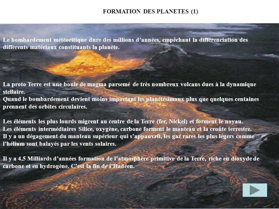FORMATION DES PLANETES (1) Le bombardement météoritique dure des millions dannées, empêchant la différenciation des différents matériaux constituants