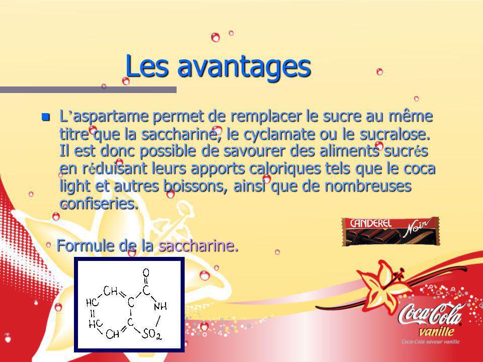 Les avantages n L aspartame permet de remplacer le sucre au même titre que la saccharine, le cyclamate ou le sucralose.