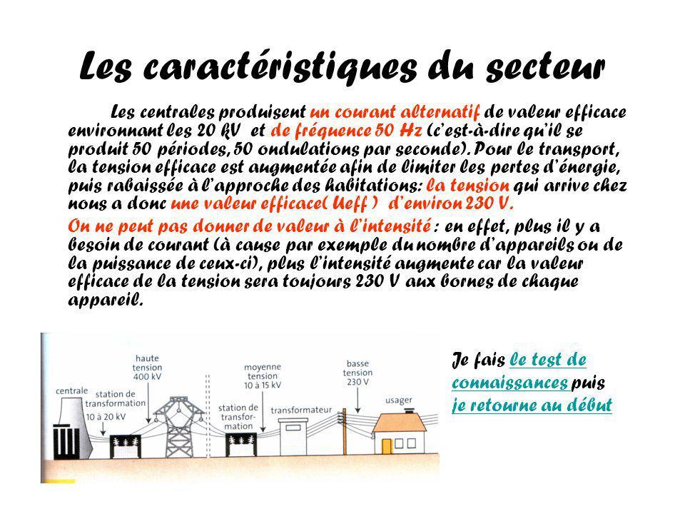 Les caractéristiques du secteur Les centrales produisent un courant alternatif de valeur efficace environnant les 20 kV et de fréquence 50 Hz (cest-à-dire quil se produit 50 périodes, 50 ondulations par seconde).