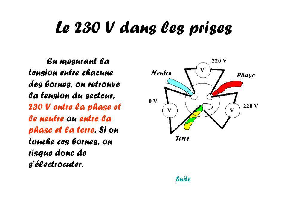 Le 230 V dans les prises En mesurant la tension entre chacune des bornes, on retrouve la tension du secteur, 230 V entre la phase et le neutre ou entre la phase et la terre.