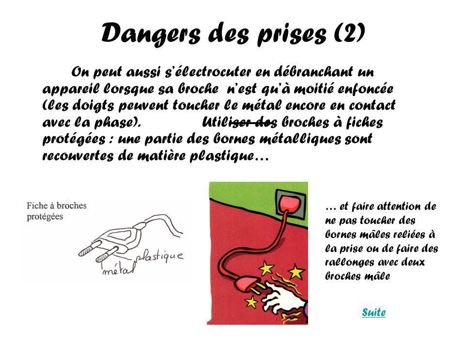 Dangers des prises (2) On peut aussi sélectrocuter en débranchant un appareil lorsque sa broche nest quà moitié enfoncée (les doigts peuvent toucher le métal encore en contact avec la phase).