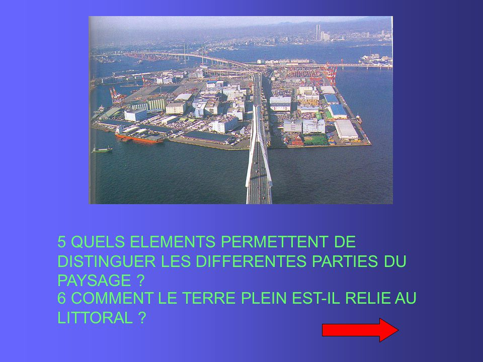 5 QUELS ELEMENTS PERMETTENT DE DISTINGUER LES DIFFERENTES PARTIES DU PAYSAGE ? 6 COMMENT LE TERRE PLEIN EST-IL RELIE AU LITTORAL ?