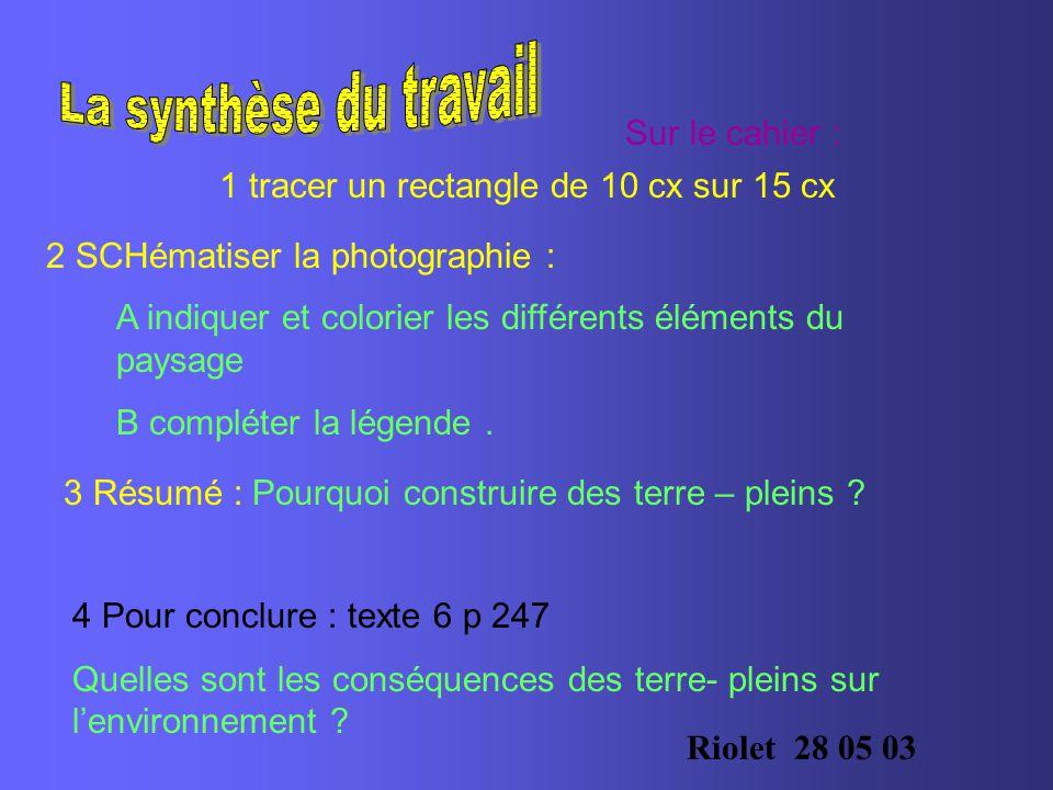 Sur le cahier : 1 tracer un rectangle de 10 cx sur 15 cx 2 SCHématiser la photographie : A indiquer et colorier les différents éléments du paysage B compléter la légende.