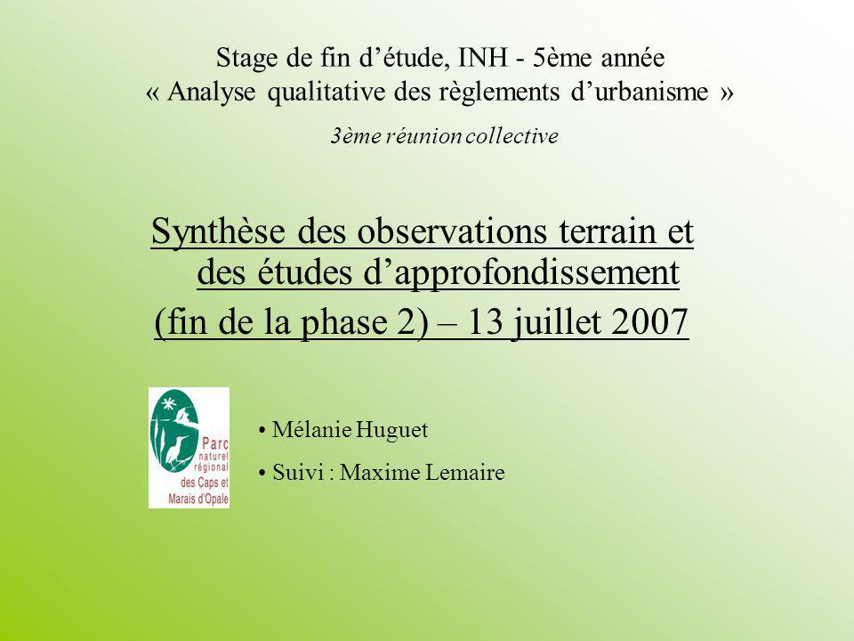 Mélanie Huguet12/57 13/07/07Synthèse des observations, entretiens et dune comparaison III.