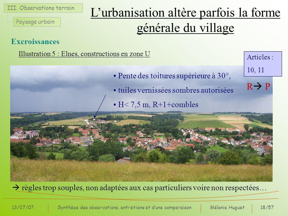 Mélanie Huguet18/57 13/07/07Synthèse des observations, entretiens et dune comparaison Illustration 5 : Elnes, constructions en zone U III.