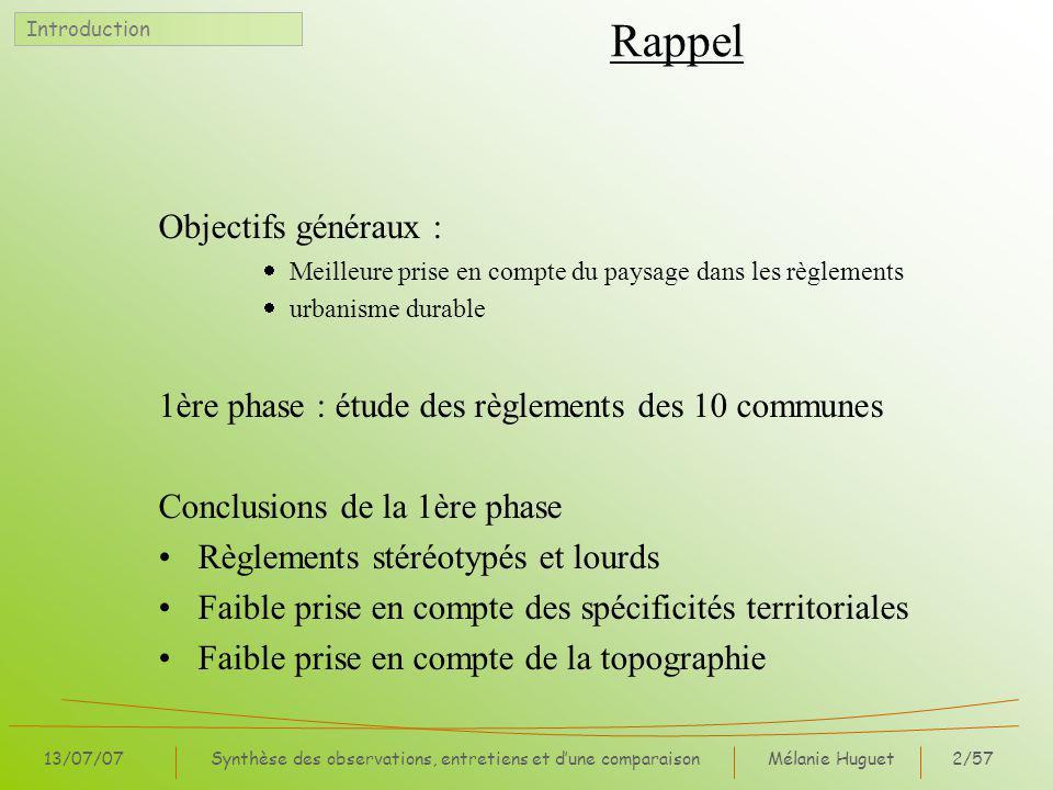 Mélanie Huguet3/57 13/07/07Synthèse des observations, entretiens et dune comparaison Communes étudiées Introduction